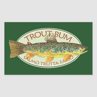 Trout Fly Fishing Rectangular Sticker