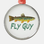 Trout Fly Fishing Round Metal Christmas Ornament