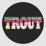 Trout Fly Fishing Round Stickers