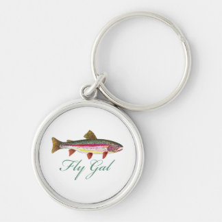 Trout Fly Fishing Silver-Colored Round Keychain
