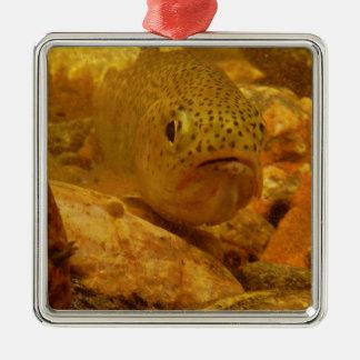 Trout in stream metal ornament