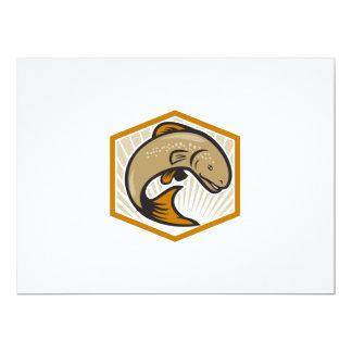 Trout Jumping Cartoon Shield 6.5x8.75 Paper Invitation Card