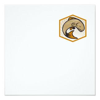 Trout Jumping Cartoon Shield 5.25x5.25 Square Paper Invitation Card