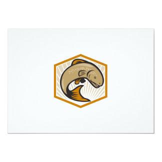 Trout Jumping Cartoon Shield 5x7 Paper Invitation Card