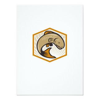 Trout Jumping Cartoon Shield 5.5x7.5 Paper Invitation Card