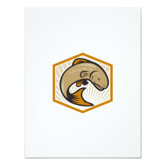 Trout Jumping Cartoon Shield 4.25x5.5 Paper Invitation Card