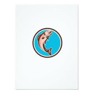 Trout Jumping Circle Retro 5.5x7.5 Paper Invitation Card
