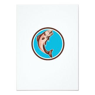 Trout Jumping Circle Retro 4.5x6.25 Paper Invitation Card