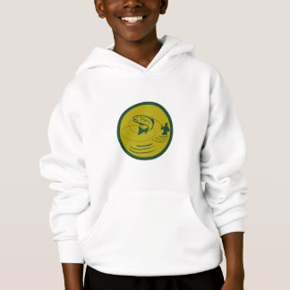 Trout Jumping Fly Fisherman Circle Retro Hoodie