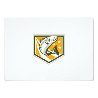 Trout Jumping Retro Shield 3.5x5 Paper Invitation Card