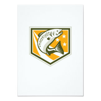Trout Jumping Retro Shield 4.5x6.25 Paper Invitation Card