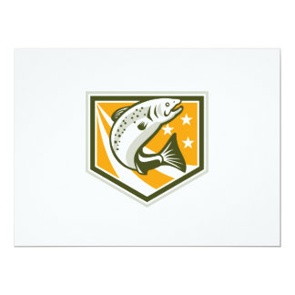 Trout Jumping Retro Shield 6.5x8.75 Paper Invitation Card