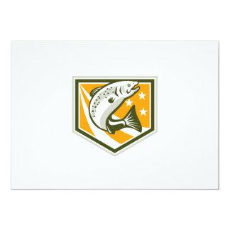 Trout Jumping Retro Shield 5x7 Paper Invitation Card