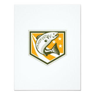Trout Jumping Retro Shield 4.25x5.5 Paper Invitation Card