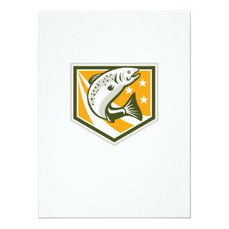 Trout Jumping Retro Shield 5.5x7.5 Paper Invitation Card