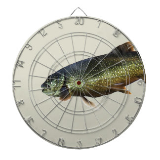 Trout on Beige Dartboard With Darts