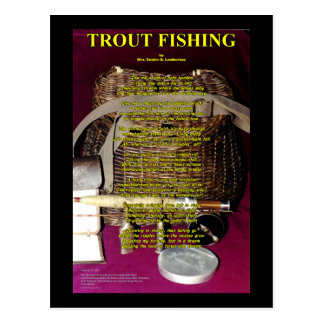 TRout Poem- Rod, reel and creel Post Card
