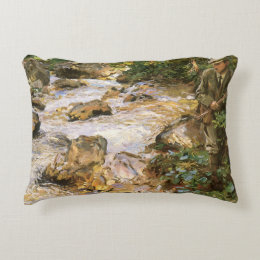 Trout Stream in the Tyrol by John Singer Sargent Accent Pillow