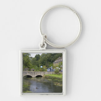 Trout stream in the village of Bibury, Silver-Colored Square Keychain