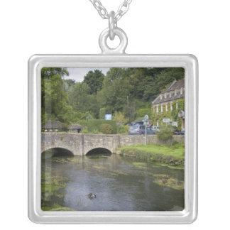 Trout stream in the village of Bibury, Square Pendant Necklace