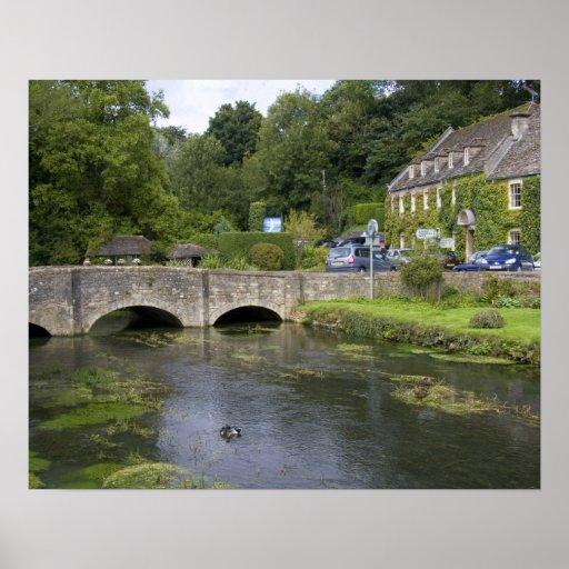 Trout stream in the village of Bibury, Print