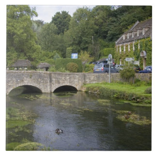 Trout stream in the village of Bibury, Large Square Tile
