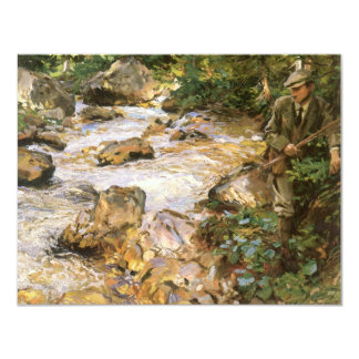 Trout Stream in Tyrol by Sargent, Victorian Art 4.25x5.5 Paper Invitation Card