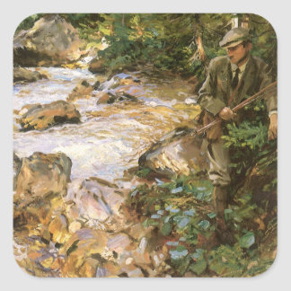 Trout Stream in Tyrol by Sargent, Victorian Art Square Sticker
