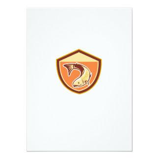 Trout Swimming Down Shield Retro 5.5x7.5 Paper Invitation Card