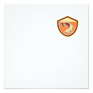 Trout Swimming Down Shield Retro 5.25x5.25 Square Paper Invitation Card