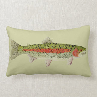 Trout Throw Pillow- Rainbow & Brown Trouts