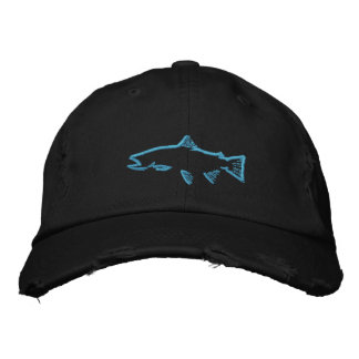 Trout Tracker Distressed Hat - Black Embroidered Hats