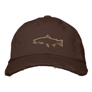 Trout Tracker Distressed Hat - Chocolate Brown Embroidered Baseball Caps