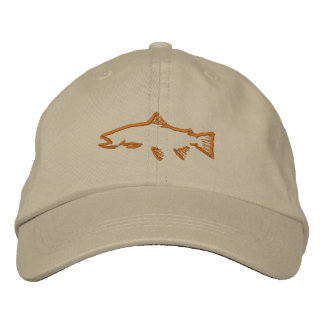 Trout Tracker Distressed Hat - Khaki Embroidered Hats