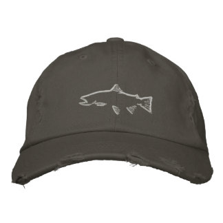 Trout Tracker Distressed Hat - Nickel Embroidered Hat