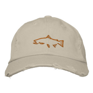 Trout Tracker Distressed Hat - Stone Embroidered Baseball Caps