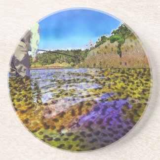 Trout, trout, everywhere trout... sandstone coaster