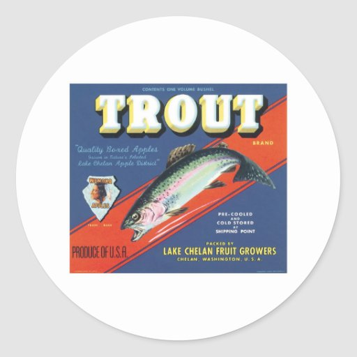 Trout Vintage Apples Label Sticker