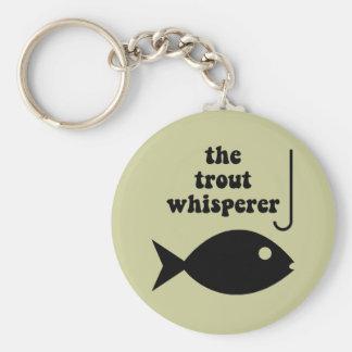 trout whisperer fishing basic round button keychain