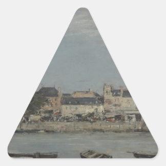 Trouville de Eugene Boudin Pegatina Triangular