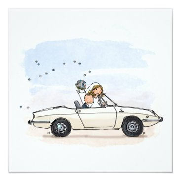 Beach Themed Trouwkaart bride couple in vintage Fiat 850 of the Card