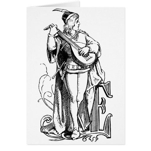 Trovador del monograma E que toca el laúd Felicitacion