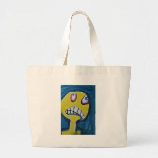 Troy - cara amarilla gráfica bolsa de tela grande