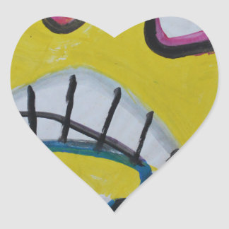 Troy - Graphic Yellow Face Heart Sticker