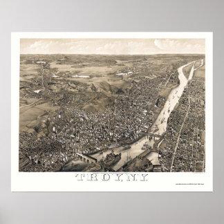 Troy, mapa panorámico de NY - 1881 Póster