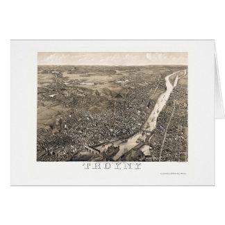 Troy, mapa panorámico de NY - 1881 Tarjeta De Felicitación