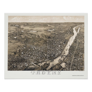 Troy, NY Panoramic Map - 1881 Poster