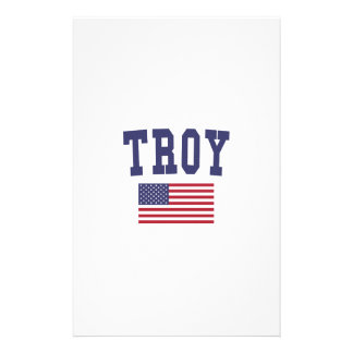 Troy NY US Flag Stationery