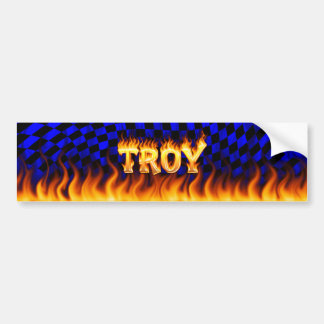 Troy real fire and flames bumper sticker design. car bumper sticker