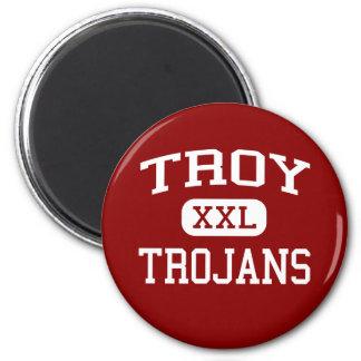 Troy - Trojan - escuela de secundaria - Troy Ohio Imán Redondo 5 Cm